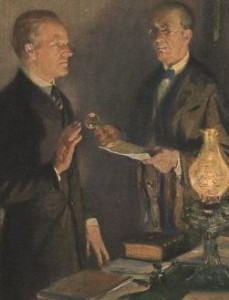 Calvin Coolidge being sworn in as president by his father, accurately depicted in a painting.