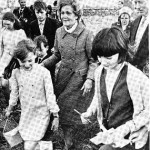 Pat Nixon with her third cousins after viewing the gravestones of her great-grandparents, County Mayo, Ireland.