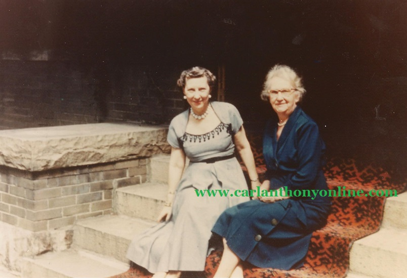 Mamie Eisenhower and her mother Minnie Doud on the front steps of the family's Denver home.